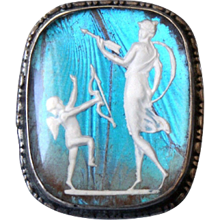 Lovely  Art Deco signed Sterling England N.B  circa 1920 Cupid an Psyche Butterfly wing brooch