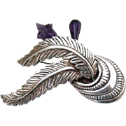 Fabulous Vintage , Early Taxco Mexico, Large and Heavy Solid Sterling Silver and Carved Amethyst Brooch