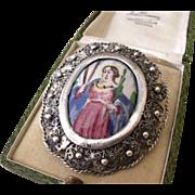 Beautiful large Antique Georgian 800 Silver filigree & Hand painted Poly Chrome Enamel portrait brooch