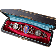 Rare Stunning Antique Victorian Sterling Silver & 14 k Gold Garnet & Enamel Hand painted Miniature & Winged Putti Bracelet in Fitted Box