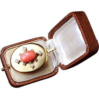 Gorgeous  Large Antique Victorian 18 K Gold Photo Locket pendant set with a large Italian natural Salmon Red Coral cabochon, white pearls and Rose cut Diamonds