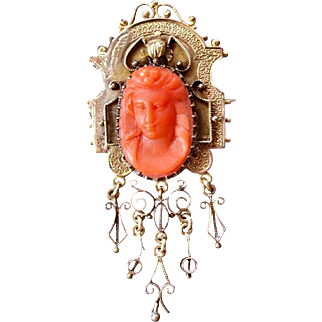 Beautiful  Large Antique Victorian Etruscan Revival 14 K Gold lovely Hand Carved Salmon Red Natural Coral Cameo brooch/pendant