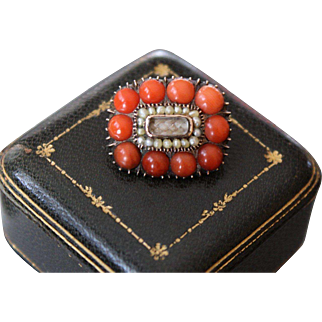 Beautiful Antique Georgian Circa 1820 Fine Quality 9 k Gold Natural Red Coral Cabochon and tiny lustrous seed pearls Sentimental Miniature woven Hair Locket Brooch.