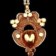 Rare & Fabulous Antique 18 Th Century , Georgian period French 18 K Gold filigree Sacred Heart Hinged Locket Pendant