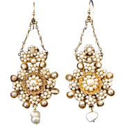 Rare & Magnificent Antique Georgian Italian long dangling 14 k Gold natural white Baroque Pearls flower Clusters Earrings