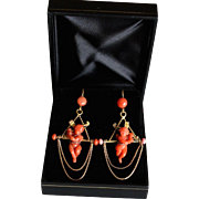 Stunning Antique Victorian Italian Circa 1840-50, Rare 14 k Gold Natural Carved Red Putti or Cherub long Dangling Earrings