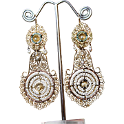 Spectacular Rare & Large Antique 18 Th Century , Georgian period, Italian 22 K Gold Day to Night Natural Pearls Dangling Earrings