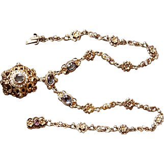 Lovely Vintage /Antique Scandinavian Sweden 830 S Silver Gilt very Ornate necklace set with oval faceted Amethyst Stones and pearls Hallmarked