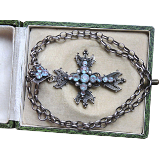 Rare & magnificent Large Antique French Victorian circa 1880, Saphiret & Pearl Filigree Cross pendant & long Sterling Silver Chain .