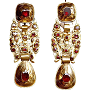 Spectacular Rare Large & Long Antique Georgian 18 Th century Spanish Iberian, 18 K Gold Foiled back Flat Cut Red Garnets Earrings