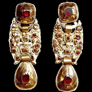 Spectacular Rare Large & Long Antique Georgian 18 Th century Spanish Iberian, 18 K Gold Foiled back Flat Cut Red Garnets Earrings