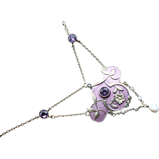 Stunning Antique Circa 1900 Signed Sterling , Very Unique Silver Gilt & Guilloche Enamel Forget me not motif Art -Nouveau  Arts & Crafts era, Circa 1900-1910, Lavalier necklace