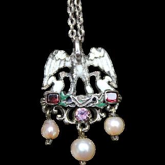 Fabulous Antique Victorian Austro-Hungarian Renaissance Revival 900 Silver & Poly Chrome Enamel Flat Cut Garnets & Pearl Drops Pelican Pendant