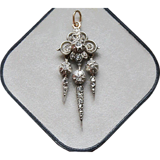 "Beautiful Antique French,Victorian period circa 1850,Silver & 18 K yellow Gold Dangling ""Pampille"" Diamond Pendant."