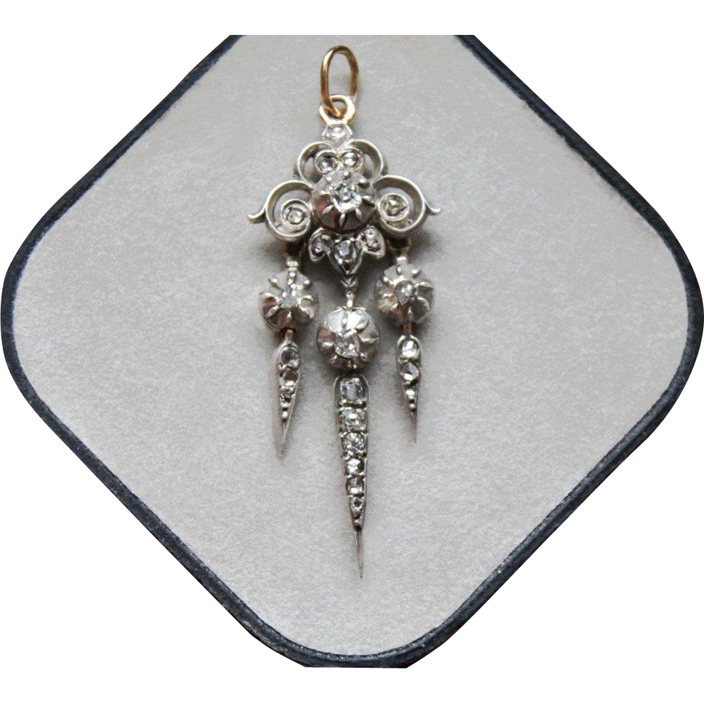"Beautiful Antique French,Victorian period circa 1850,Silver & 18 K yellow Gold Dangling ""Pampille"" Natural old cut Diamond Pendant."