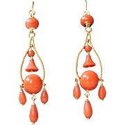 Fabulous Antique French  Victorian circa 1850 Hand Carved Natural Red coral & Solid 18 K Gold Long dangling Pendeloque Earrings
