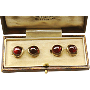Fabulous English Antique Victorian Fine quality 9 K Rose Gold & Red Garnet Carbuncle Double side Cuff Links in the fitted Box. Arthur Jack &Co ,The Promenade, Cheltenham