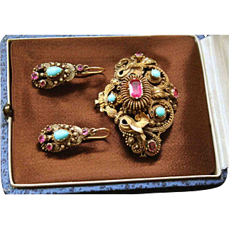 Rare Antique Georgian circa 1800, 18 k Gold fine quality Natural Ruby's & Persian Turquoise Cannetille Earrings & Brooch Set