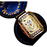 Rare & Fabulous Antique Georgian late 18 Th Century 18 K Gold & Poly Chrome Enamel French Forget me not Pansy Ring