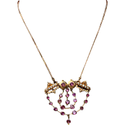 Exquisite Large Antique Victorian French 18 K Gold Pink Rhodolite Garnets & Pearls Owl Motif Pendant Necklace