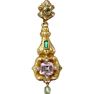 Stunning Antique 19 Th Century Early Victorian/Late Georgian French 18 k Gold & Enamel Natural Pink Topaz & Emeralds Pendant