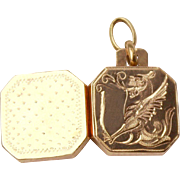 Fab Antique French Hallmarked 18 K Gold fancy engraved Griffin motif Locket pendant/Fob with original hinged Crystal panel insert