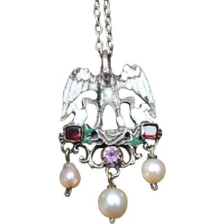 Beautiful Antique Victorian Renaissance Revival Austro-Hungarian  900 Silver Enamel Flat cut Garnet Pelican Pendant