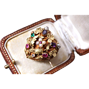 Exceptional Rare Antique Georgian 14 k gold Natural Gem Set Regard Acrostic Sentimental Love Heart Locket Brooch