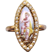 Beautiful  Rare Antique late Georgian or Early Victorian French 18 K Gold &  Fabulous Hand painted enamel on Porcelain Putti Navette shaped Ring