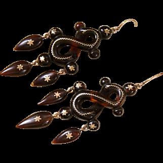 Exceptionally Beautiful Antique Victorian Circa 1860-70, Long 14 k Gold pique Sentimental Love Knot Figure Girandole Drop Earrings.