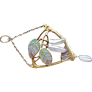 Stunning Rare Antique Circa 1890-1900 Art Nouveau French Hallmarked & Signed 18 k Gold Organic themed Plique a Jour & Lustrous Dangling Baroque Pearls pendant.