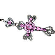 "Beautiful large Antique Victorian period ,19th century French Silver plated intricate Filigree and Pink Paste Glass ""Provencale"" (south of France) Cross ."