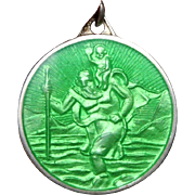 Beautiful Vintage English Hallmarked Birmingham Sterling Silver and Green Enamel St Christopher Medal pendant  or charm