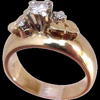 Beautiful Signed Mapp Ingot Vintage 14 K Yellow Gold 0.21 Carat  VVS1 sparkling Diamond Engagement Ring