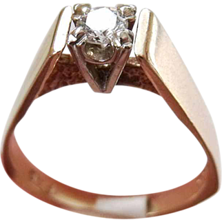 Vintage 14 K yellow & White Gold  & 0.23 carat Solitaire Diamond ring signed FAD, clarity VVS2 Color G