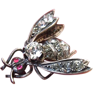 Antique Art Nouveau French circa ,1890-1900 Unique large 800 silver gilt paste Insect or Bee brooch
