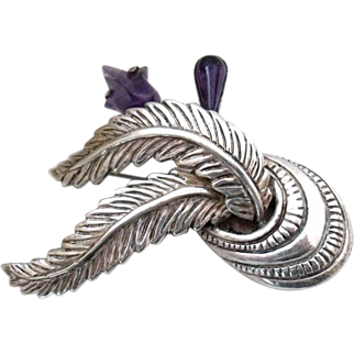 Vintage Taxco, Mexico large Heavy Sterling Silver & carved Amethyst Brooch  signed Sterling Taxco