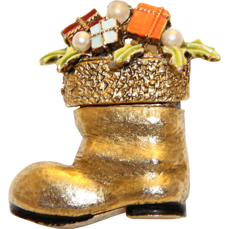 Signed ART Christmas Santas Boot Stocking Gift Filled Brooch Pin~BOOK PIECE