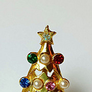 Vintage Atomic Christmas Tree Brooch, Multi-color Rhinestones, Faux Pearls, Collectors Piece