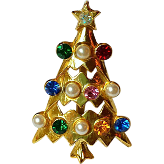 Vintage Atomic Christmas Tree Brooch, Multicolor Rhinestones, Faux Pearls, Open Tiered ~ Collectors Piece