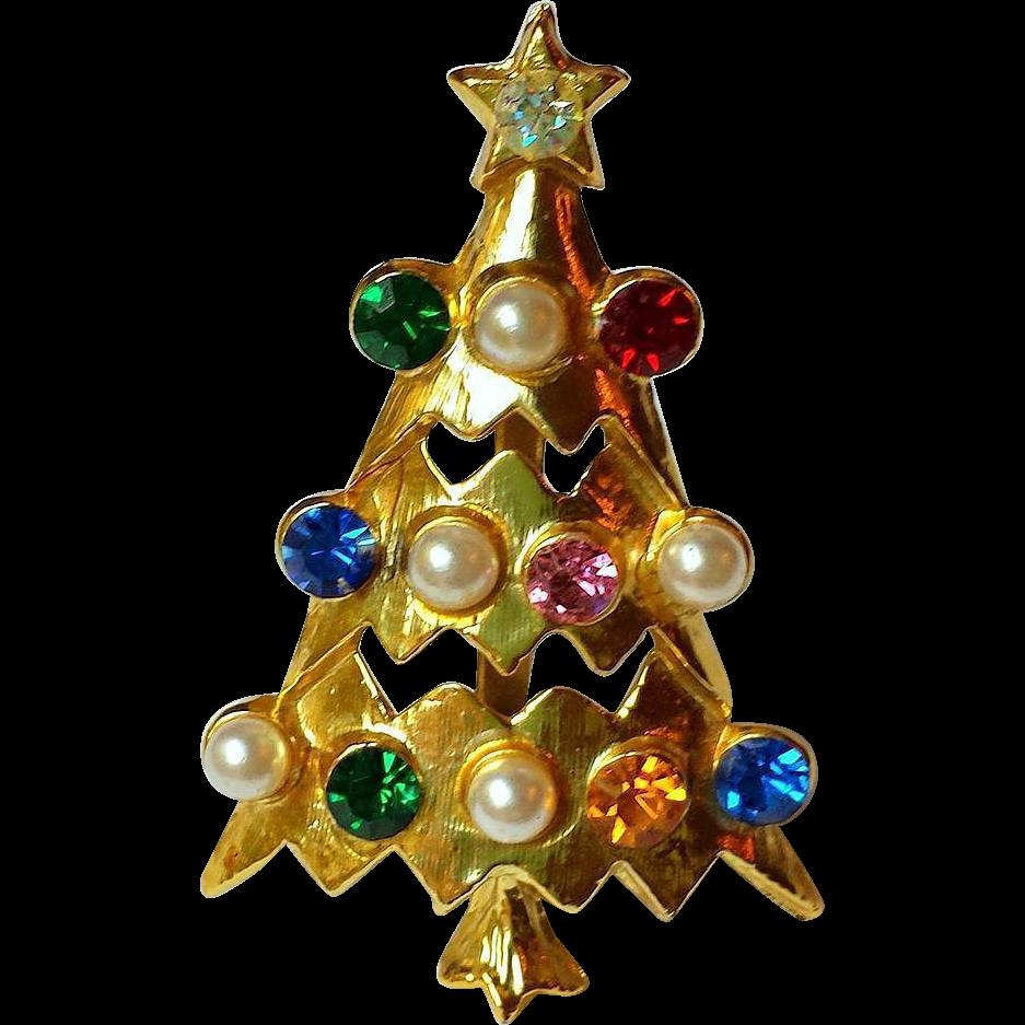 Vintage Atomic Christmas Tree Brooch, Multicolor Rhinestones, Faux Pearls, Open Tiered ~ Collectors Piece