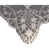 Antique French Net Lace Handkerchief, TAMBOUR Hand Embroidered French Net Lace Hanki EXQUISTE !