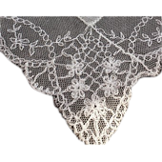 Vintage Bride Wedding HankieTAMBOUR Hand Embroidered French NET LACE~ Exquisite~
