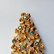 Vintage Avon Christmas Tree Blue AB Rhinestones -COLLECTORS  BOOK PIECE