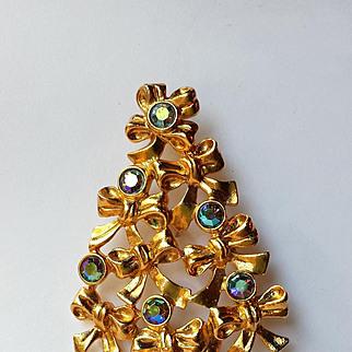 Vintage Avon Christmas Tree Blue AB Rhinestones -COLLECTORS  BOOK PIECE