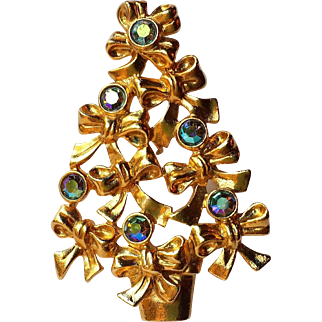 Avon Blue AB Rhinestone Christmas Tree Bow Brooch ~ BOOK PIECE~