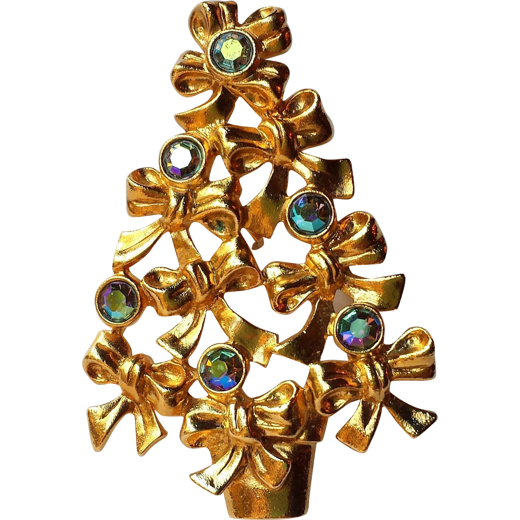 Vintage Christmas Tree Brooch 22k Gold Overlay, Blue AB Rhinestones and Bows Signed Avon Brooch ~COLLECTORS  BOOK PIECE~