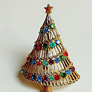 Signed JJ Rhinestone Christmas Tree Pin Brooch ~ Collectors BOOKPIECE