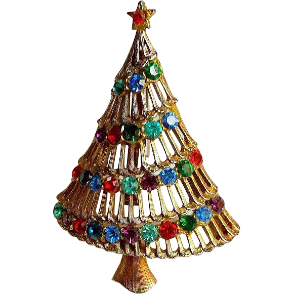 Vintage JJ Rhinestone Garland Christmas Tree Pin Brooch ~ Collectors SIGNED BOOKPIECE~