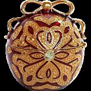 Collectible Monet Trinket Box Christmas Ornament Rhinestone Ruby GoldPlate